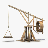 old wooden crane 3D