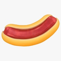 3D cartoon hot dog