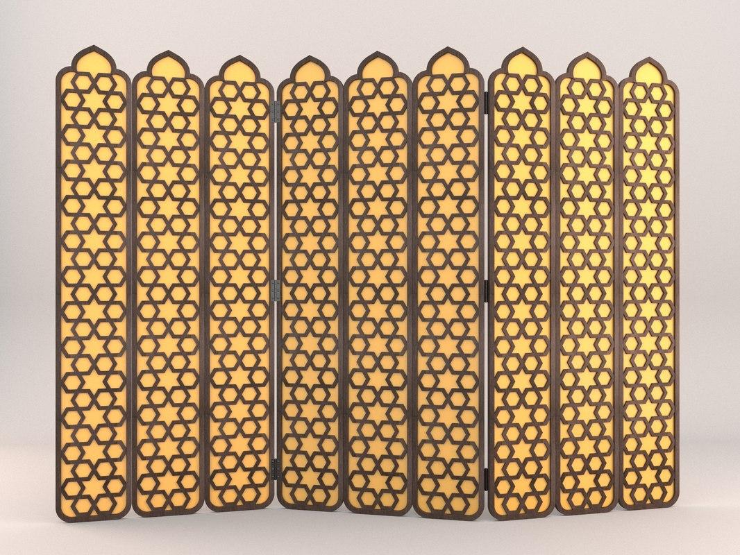 arabesque fold lattice screen 3D model