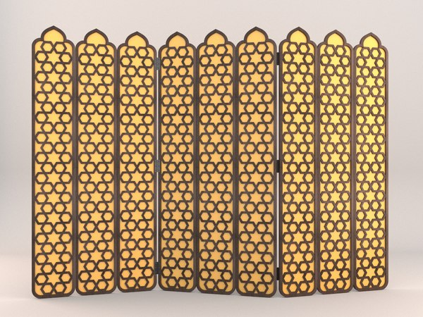 arabesque fold lattice screen 3D model