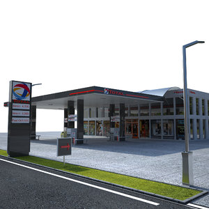3D model total gas station