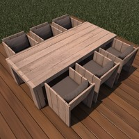 3D lounge dining wood model