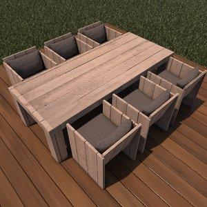 3D lounge dining wood model