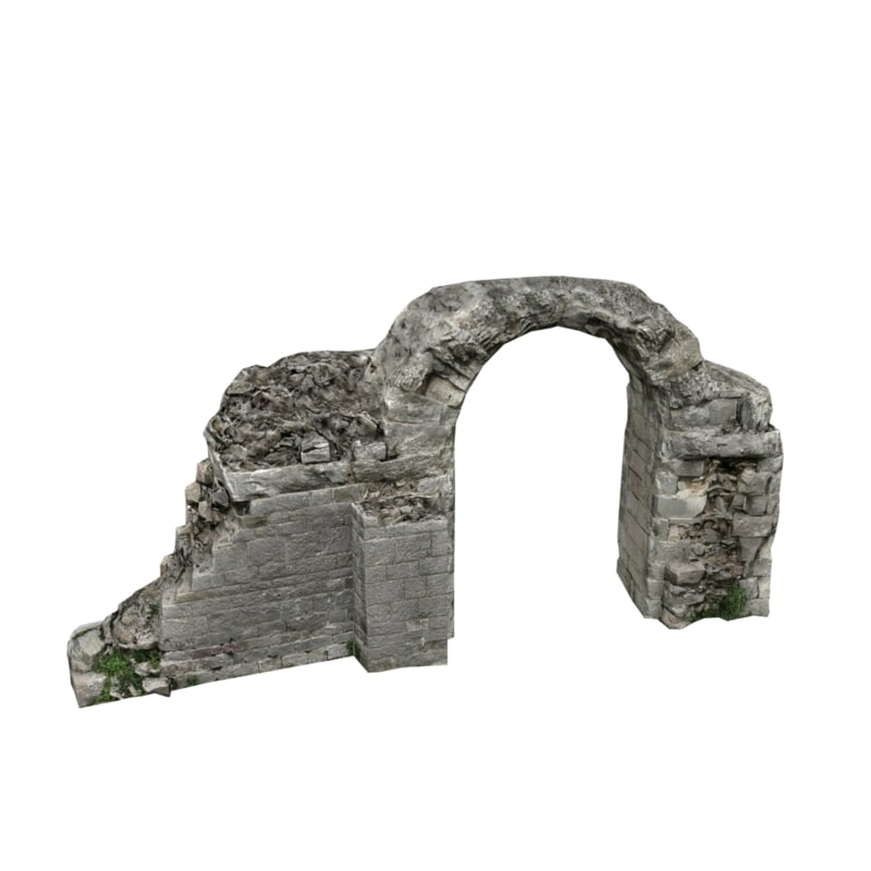 ruined arched wall 04 3D model