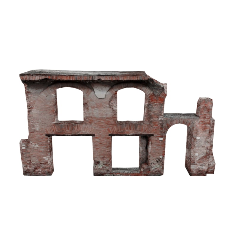 ruined arched wall 03 model