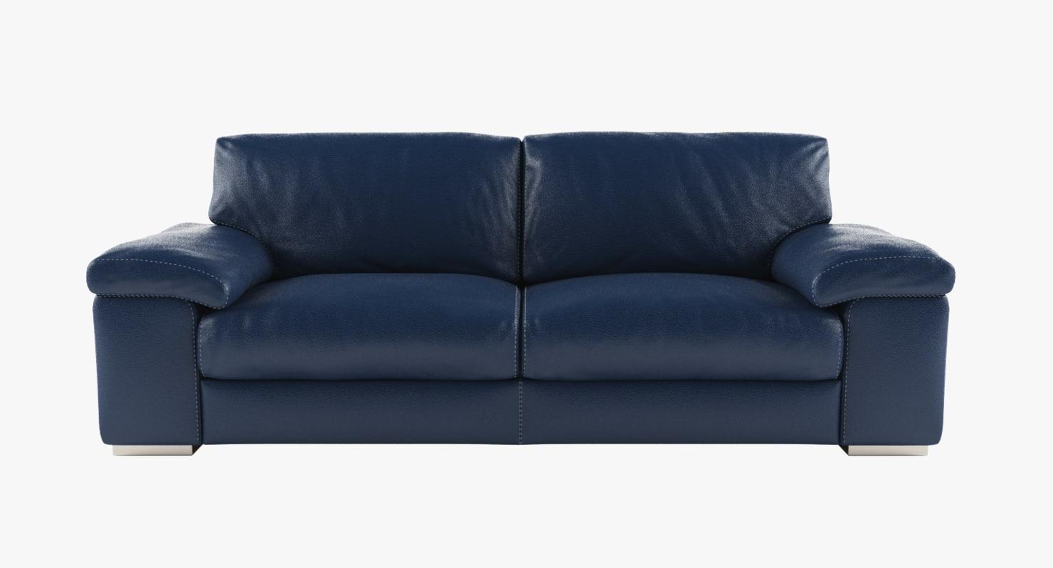 3D model modern blue leather sofa