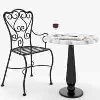 Wrought Iron Table and Chair French Bistro