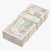 3D wrapped bills money 50