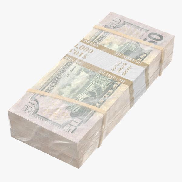 3D wrapped bills money 50