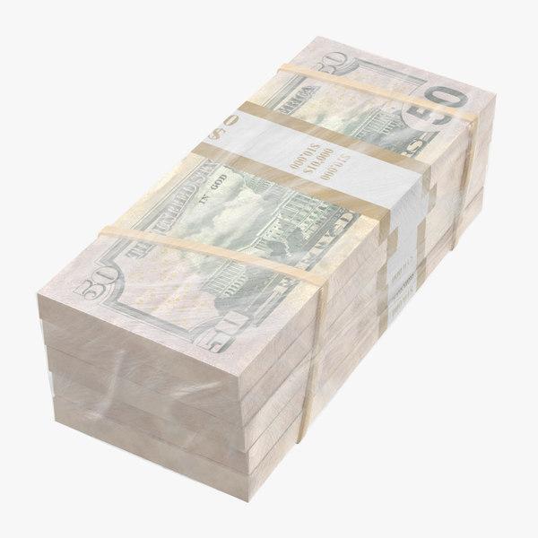 wrapped bills money 50 3D model