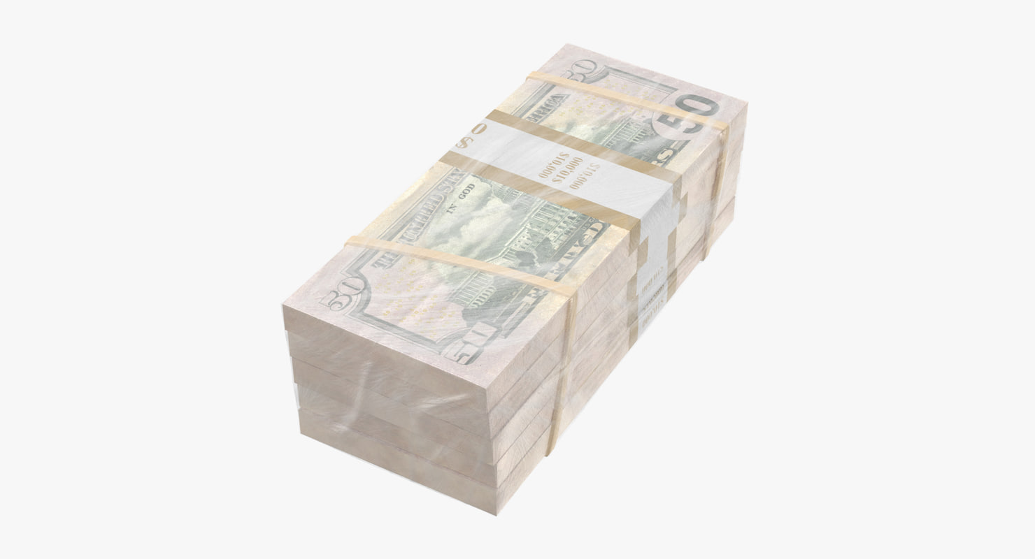 wrapped bills money 50 3D model