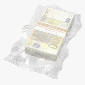 wrapped bills money 200 3D model