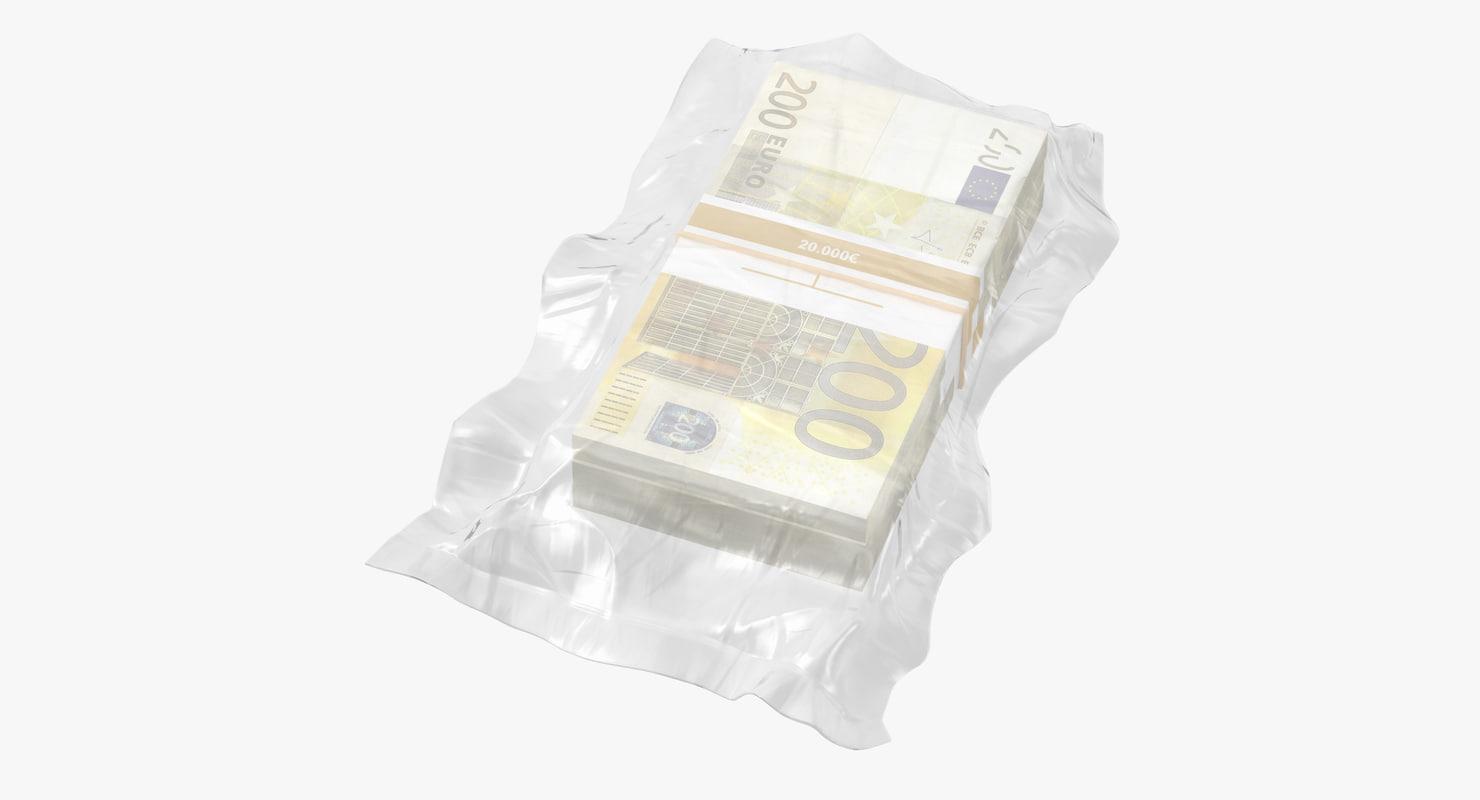 wrapped bills money 200 3D model