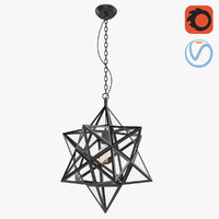 3D model loft metal star chandelier