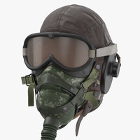 Pilot Head Gear With Oxygen Mask (WWII) - Worn