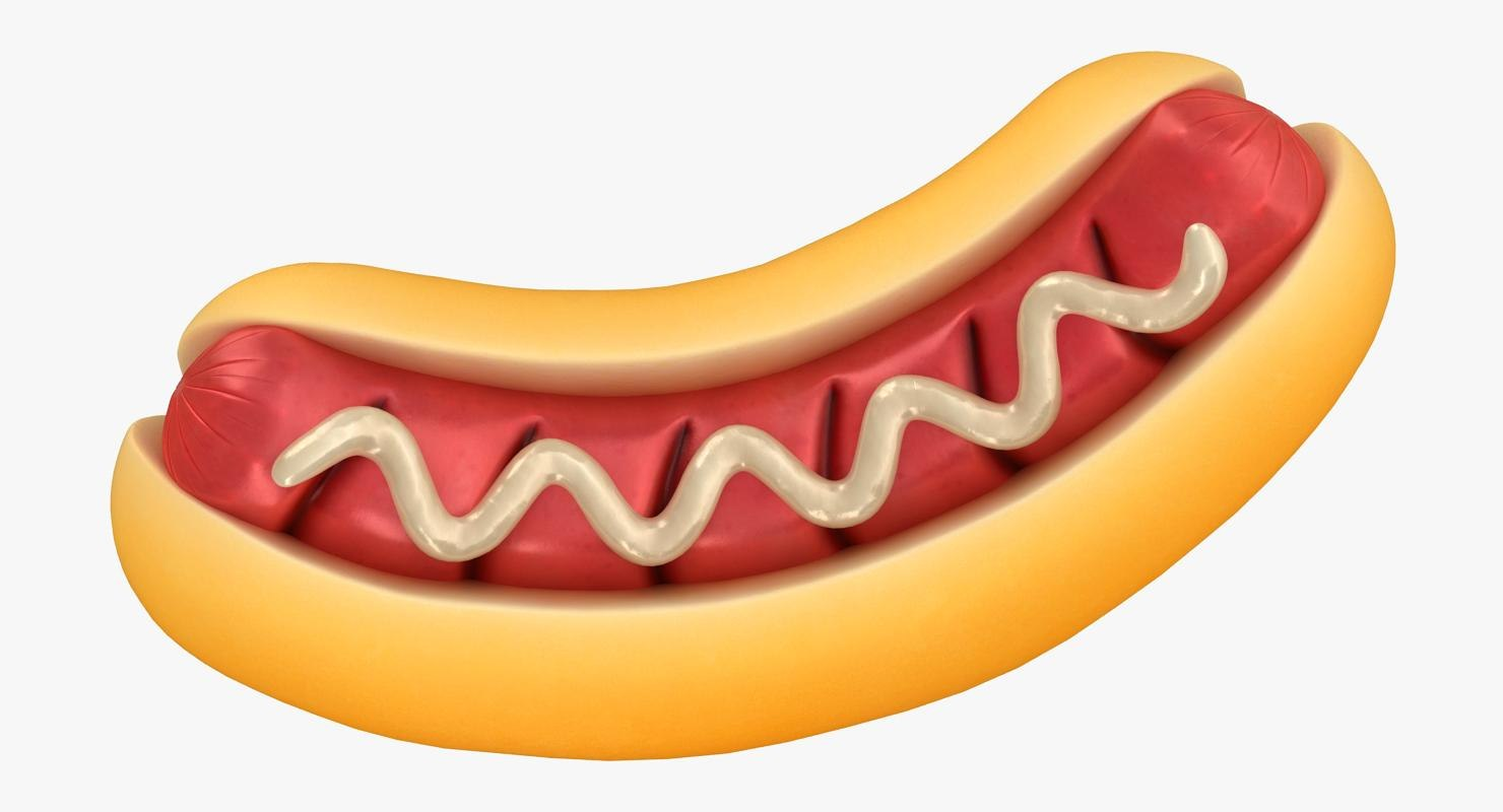 3D cartoon grill hot dog