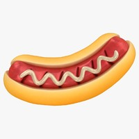 3D cartoon grill hot dog