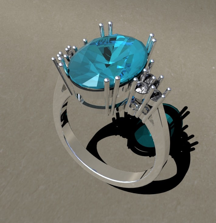 ring aquamarine 3D