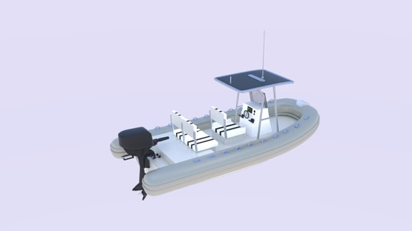 3D twin engine inflatable boat