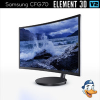 3D samsung cfg70 curved gaming model