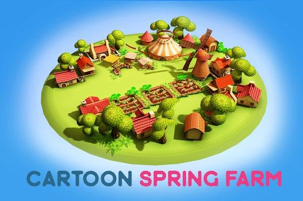 cartoon spring farm windmill 3D model