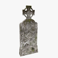 tombstone cross moss 3D model