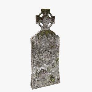 tombstone cross moss 3D model