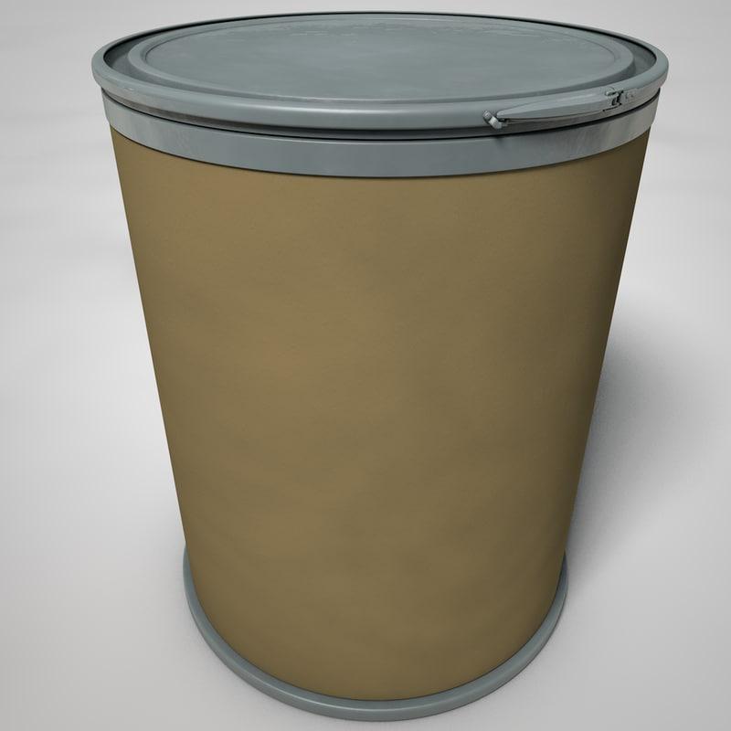 3D model cardboard drum