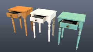 3D french nightstand model