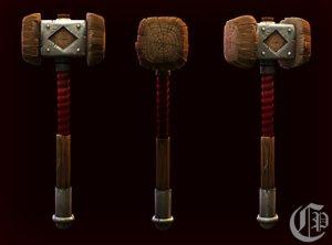 3D hand painted wooden war-hammer
