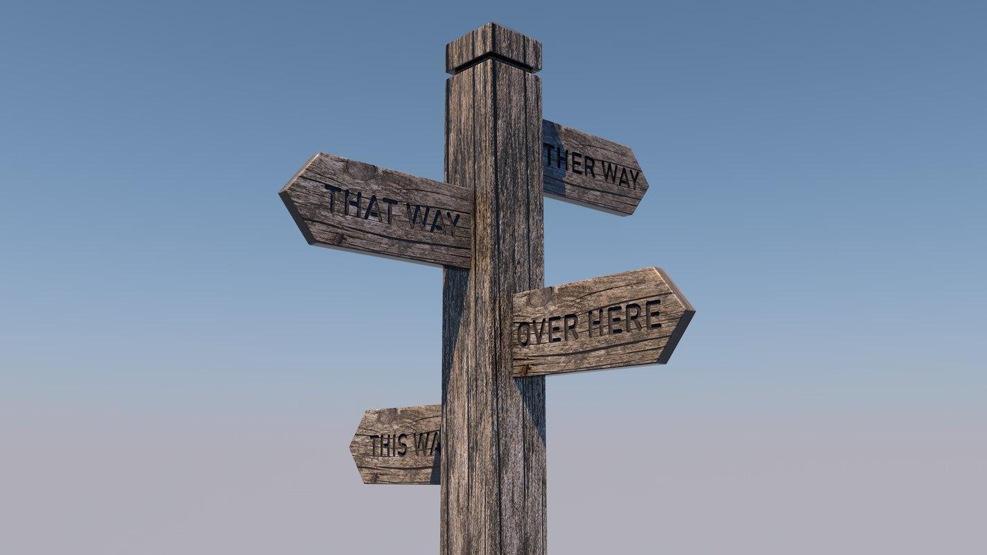 3D signpost sign model
