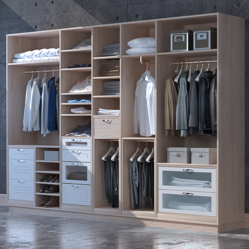 Dress Cabinets For Success: 3D Set Clothes Shoes Cabinet Model