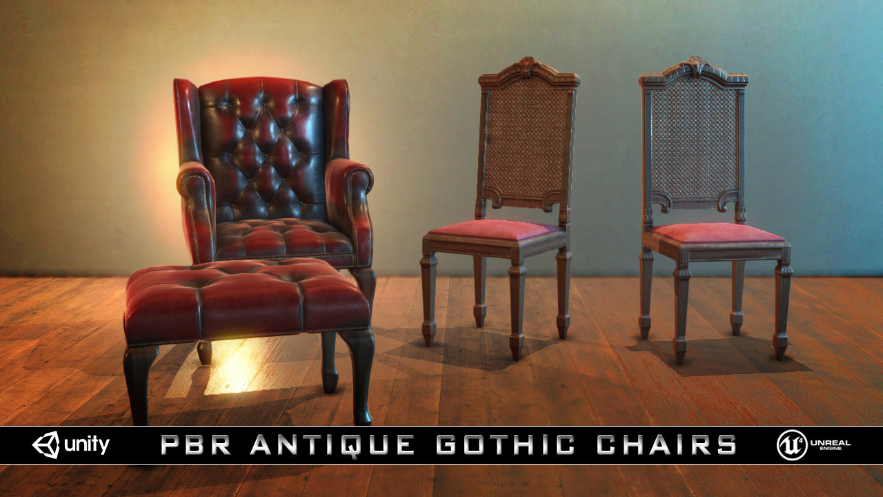 3D pbr antique gothic chairs