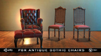 PBR Antique Gothic Chairs UnityPackage