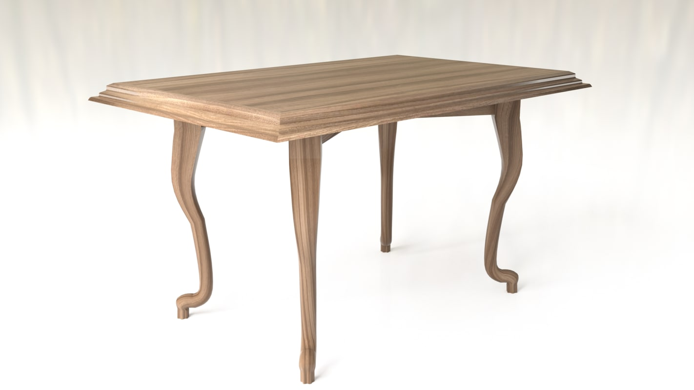 table classic wooden 3D