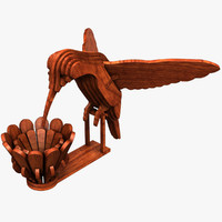 3D kolibri statuette model