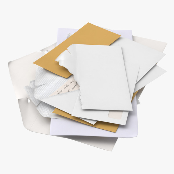 3D opened unopened mail pile