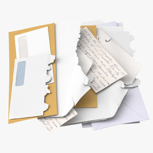 opened unopened mail pile 3D model