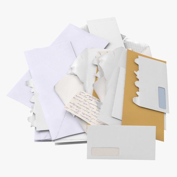 3D opened unopened mail pile model