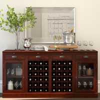 MODULAR BAR BUFFET WITH 2 WINE GRID BASES & 2 GLASS DOOR CABINETS + Decor set
