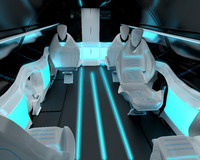 Business class interior of the passenger area of the aircraft