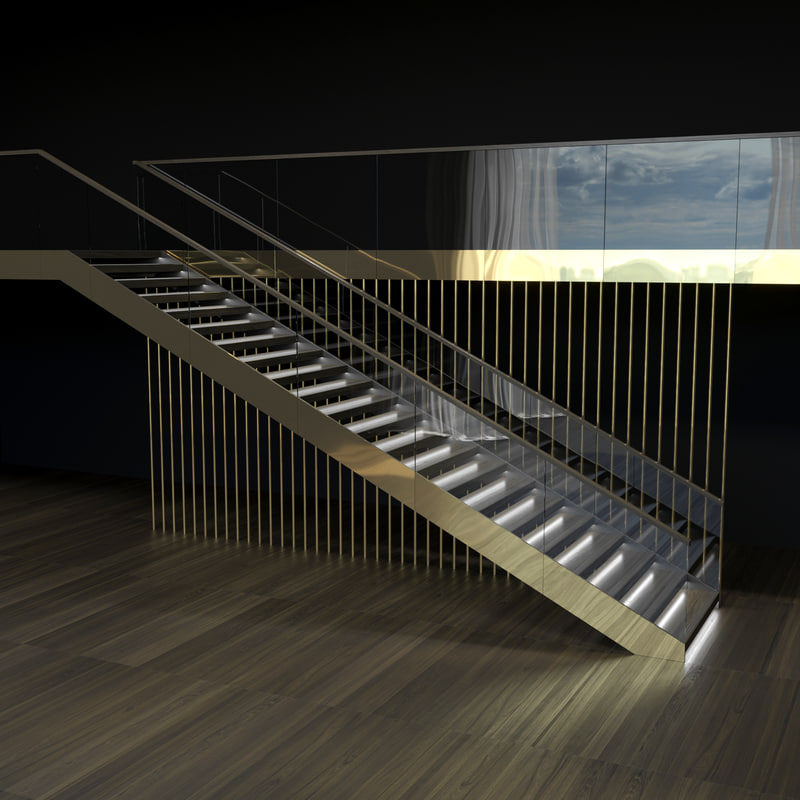 3D staircase glass railing brass model