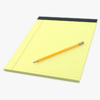 3D model note pad pencil