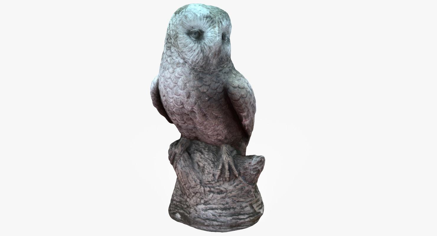 concrete owl 3D model