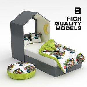 child bed set 01 3D model