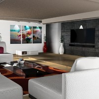 3D model beach living room