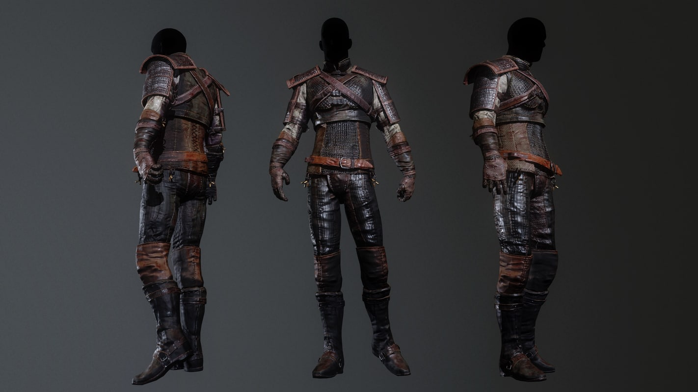 3D leather armor model