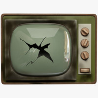 3D broken old tv model