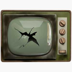 3D broken old tv model