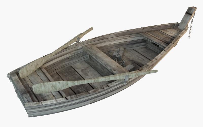 old boat wooden 3D model